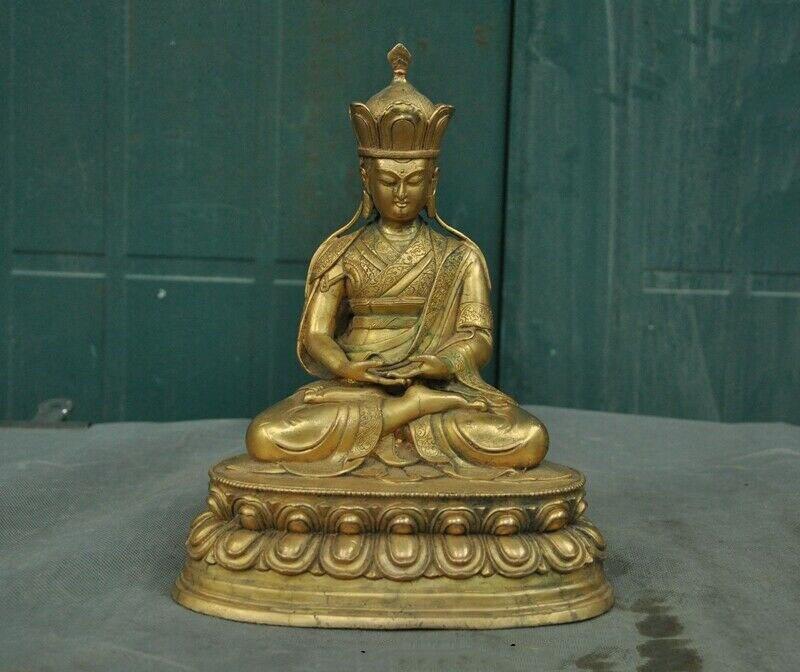 Décoration de mariage ancien tibétain Bronze 24k or doré Ksitigarbha jizo moine Bodhisattva bouddha statue