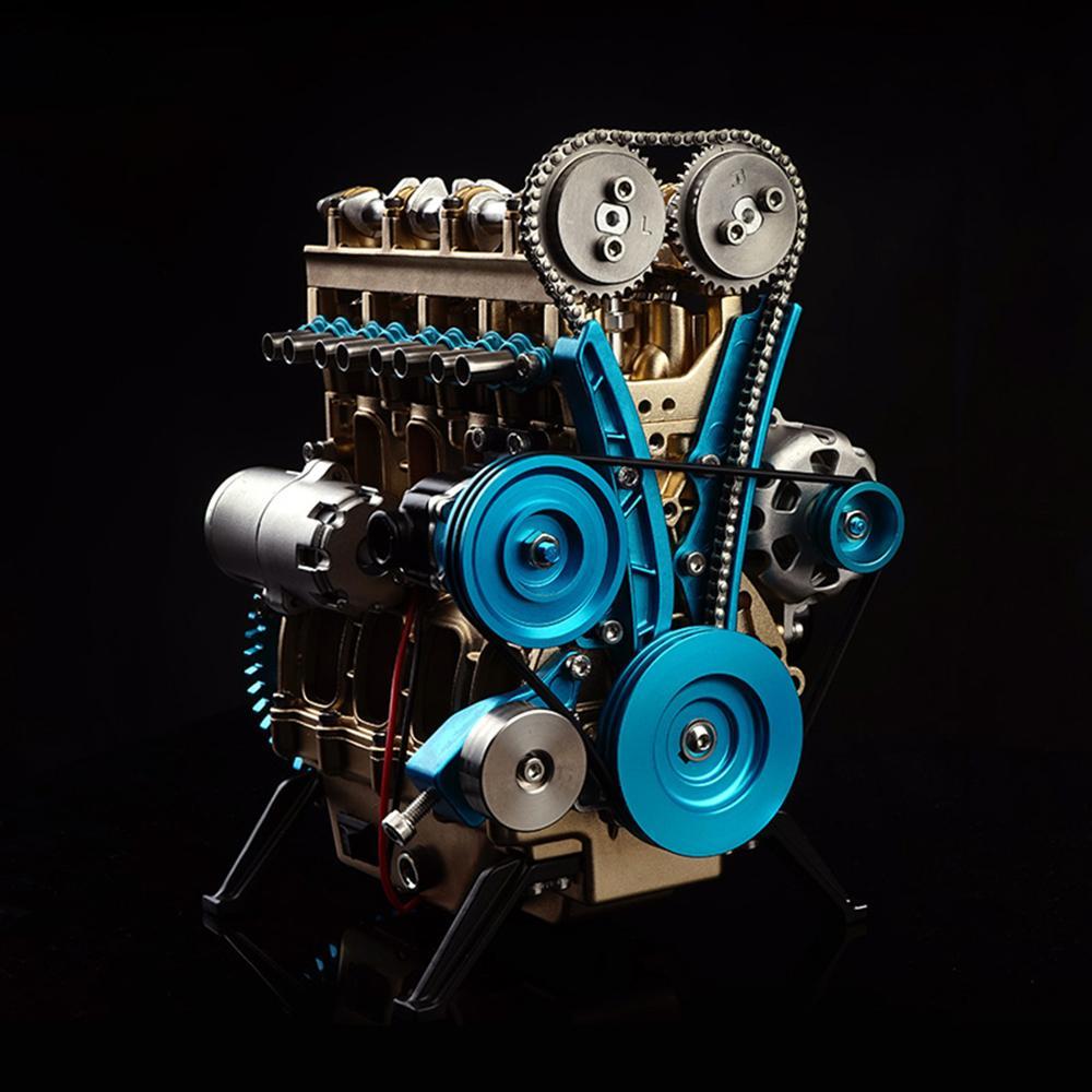 All In Metallo da Auto Mini Assemblare Giocattoli di Modello Modello di Auto Motore In Linea A quattro Cilindri Kit di Giocattoli Di Puzzle Per Adulti splicing Hobby di Costruzione - 2