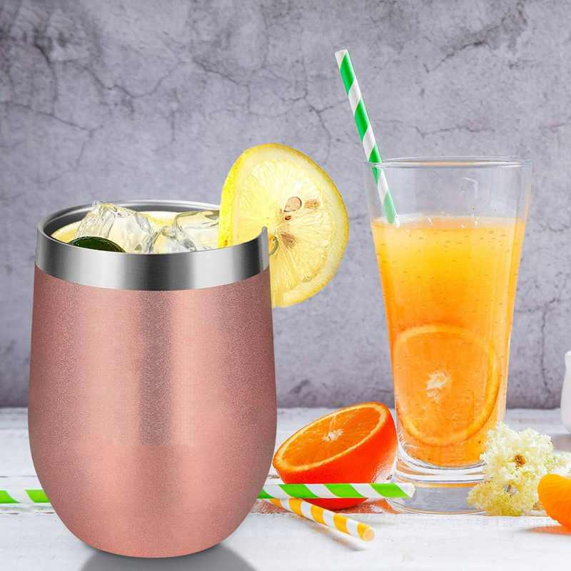 Hot XD-12Oz Stainless Steel Insulated Wine Glass Double Wall Coffee Mug Insulated Wine Tumbler With Lid For Champaign Cocktail B