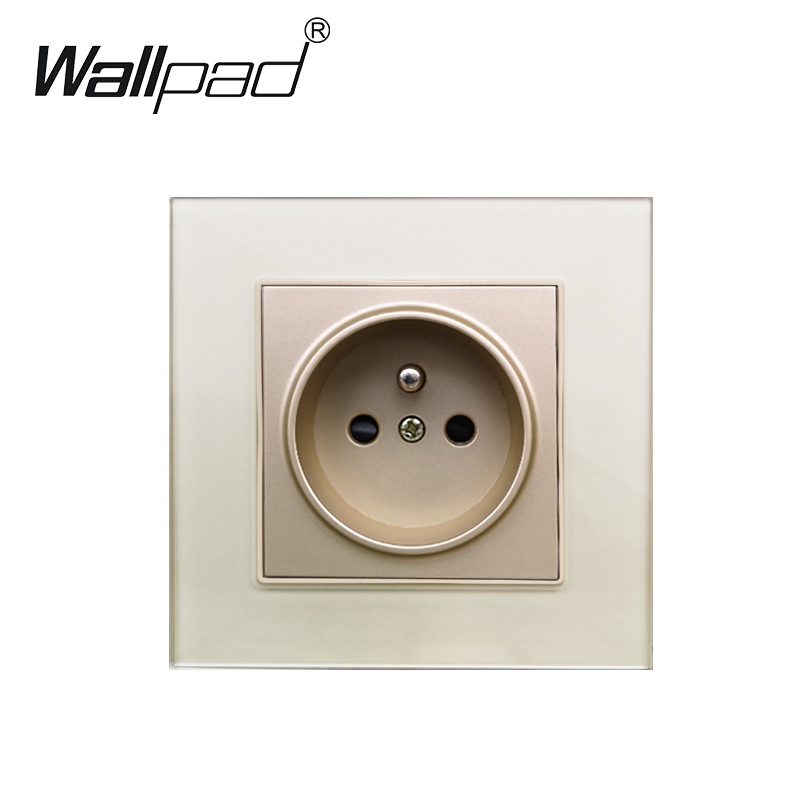 French Power Socket Plug Grounded Glass Panel Wallpad 16A EU French Standard Electrical Wall Outlet 86mm * 86mm