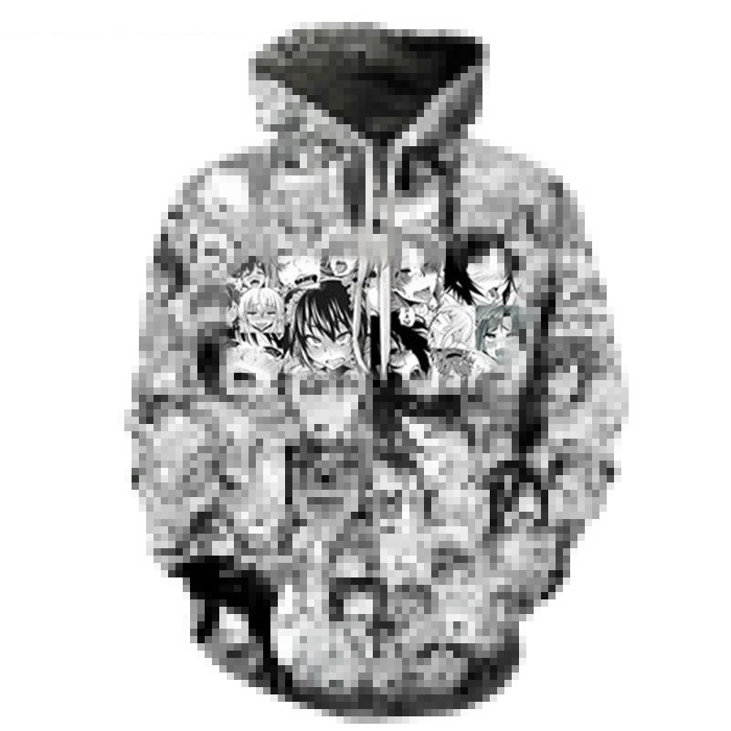Funny Ahegao Anime Printed Sweatshirt Men Women Open Mouth