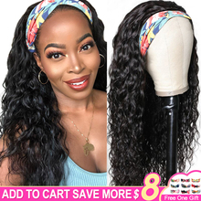 30 Inch Water Wave Headband Wig Human Hair Wigs For Black Women Brazilian Machine Made Remy Natural Color Hair 130% Density