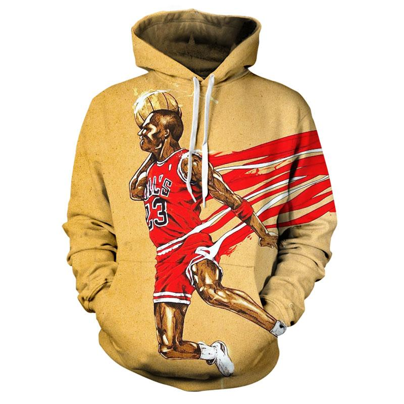 New 3D Personalized Fashion Color Cartoon / NBA Character Trend Sports Fashion Leisure Street Handsome Cool Men Hoodie Xxs-6xl