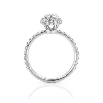 14k White Gold Center 1ct 6.5mm EF Color Moissanite Halo Engagement Ring for Women Wedding Anniversary Gift 1