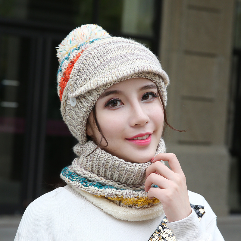 Winter Hat Scarf And Masks Set For Women Korean Thickened For Warmth And Wind Protection Scarf Hat Gorros De Unicornio Warm