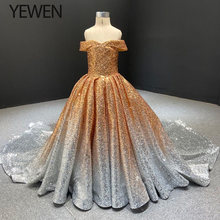 flower girls pageant dresses elegant Gold pageant ball gown first communion dresses for girls YEWEN 66536 Long Train(China)