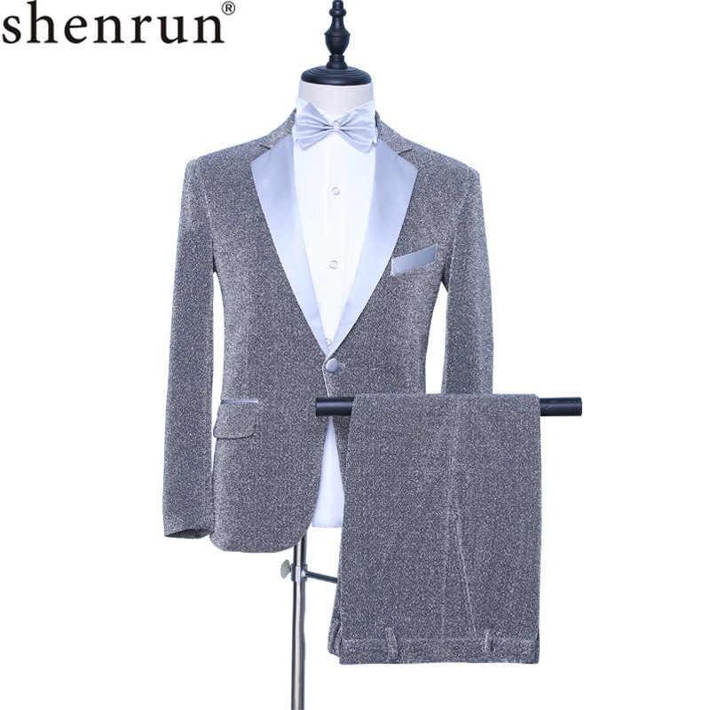 Shenrun hombres 2 piezas esmoquin plateado Slim moda novio
