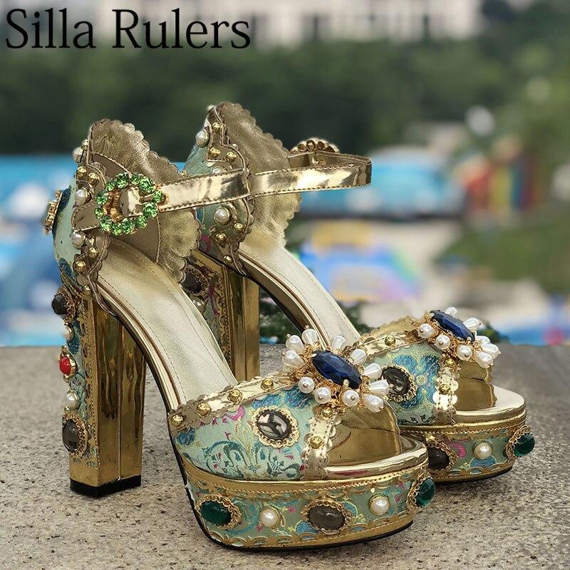 2019 impression perle dames carrés talons hauts sandales cristal boucle sangle bout ouvert gladiateur sandales femmes chaussures de fête de mariage-in Sandales femme from Chaussures    1