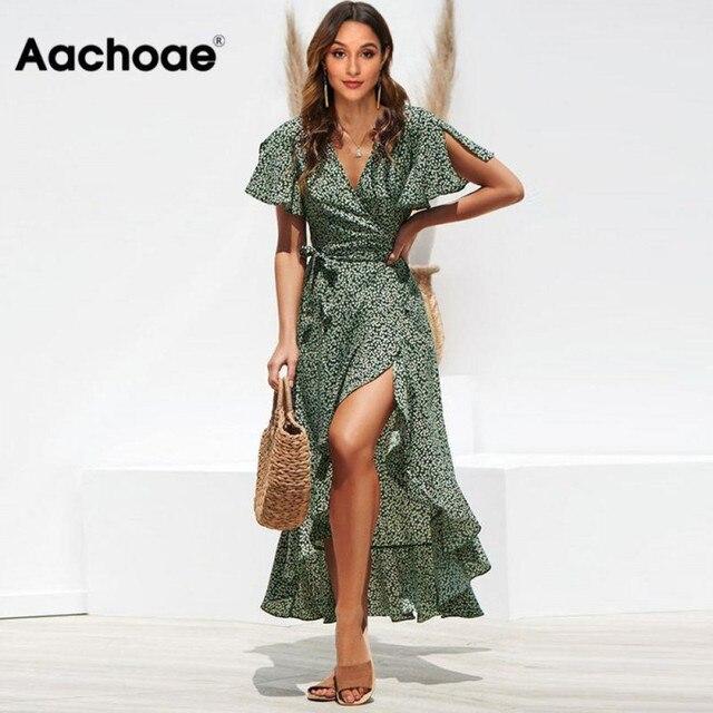 Aachoae Long Wrap Dress 2020 Summer Boho Style Floral Print Maxi Beach Dress Sexy Side Split Party Dress Sundress Vestidos 1