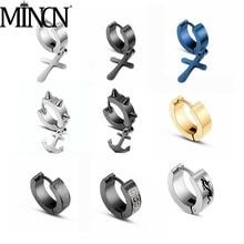 MINCN RainbowMINCN Rainbow Earrings Charm Stainless Steel Stud Mens Classic Shiny Zircon Studs Ms. Crystal