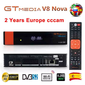 Gtmedia V8 Nova Built-in WIFI H.265 Freesat V8 With 1 Year Europe Clines Cccam Suppprt MPEG4 Dolby AC3 Youtube IPTV Set-Top Box