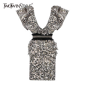 TWOTWINSTYLE Leopard Dress Backless Sexy Bodycon Spring Summer Fashion Women Ruffle Female