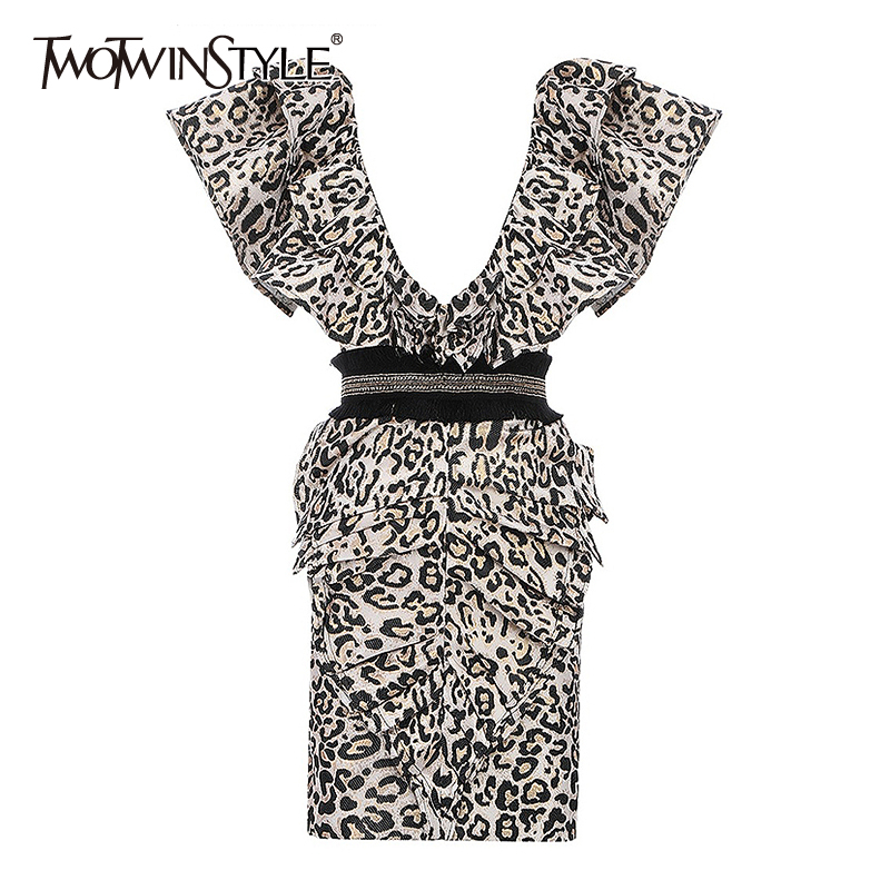 TWOTWINSTYLE Ruffle Leopard Dress Women V Neck Sleeveless Backless Sexy Bodycon Dresses Female 2020 Spring Summer Fashion New