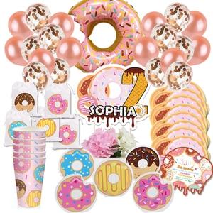 Пончик для вечеринки, дня рождения, воздушные шары, Пончик, вырасти, с днем рождения, приглашения, торт, Топпер, для вечеринки, сумка, украшени...