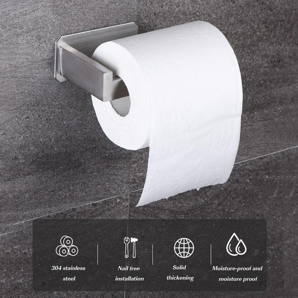 Без сверления Само клей туалет бумага держатель нержавеющая сталь ванная кухня рулон бумага аксессуары ткань полотенце вешалка металл держатели