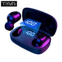 TWS Drahtlose Bluetooth Kopfhörer 6D Hifi Stereo bass Sport headset wasserdichte Noise Cancelling Freihändiger Mit Mic Led-anzeige