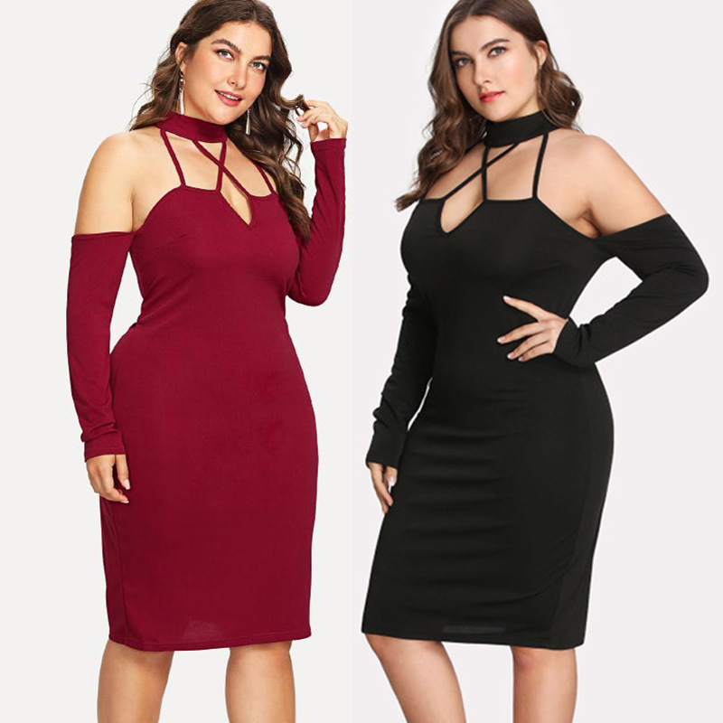 0052 Large Size <font><b>Women</b></font> Black Red <font><b>Sexy</b></font> Evening Party Club <font><b>Dress</b></font> Midi XL 2XL 3XL <font><b>Fat</b></font> People Oversizes Clothes For Female Strapless image