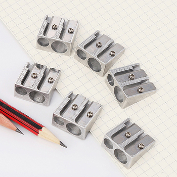 5Pcs Double Hole Metal Bevelled Pencil Sharpener Drawing School Office Art Tool