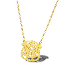Simple gold bulldog necklace woman fashion new stainless steel jewelry animal accessories ins ladies clavicle chain necklace stainless steel hollow egyptian head necklace women jewelry personality portrait accessories ladies clavicle chain necklace