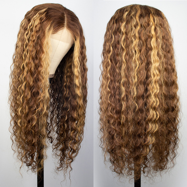 Curly Human Hair Wig Honey Blonde Ombre 13x1 Brazilian Brown Color 3