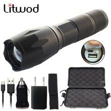 Litwod-lampe Flash rechargeable par USB, lampe de poche LED 10000 Lumens, CREE XM-L2 U3 XM-L T6, éclairage torche avec USB