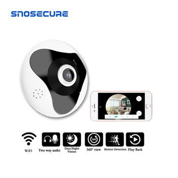 SNOSECURE 3D WIFI 360 Degree Two way audio Panoramic VR 1.3MP FIsheye Wireless Smart IP Camera support 128g Home Security 360 degree panoramic ip camera fisheye wifi cctv cam ptz 3d vr video p2p 720p audio for home ofiice security remotely mon