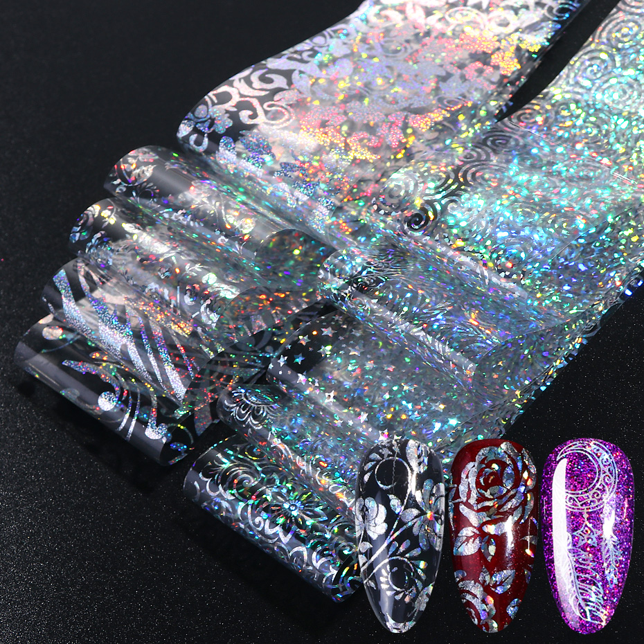10pcs Holographic Nail Foil Polish Stickers Transfer Starry Sky Laser Sliders Transparent Nail Art Decal Manicure Designs JI1040