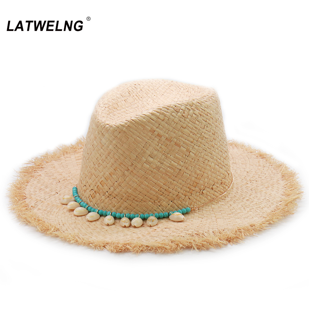 Beads Shell Raffia Sun Hats For Women Handmade Ins Summer Beach Hats Hawaiian Style Straw Cap Wholesale