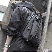 FYUZE New Mens Waterproof chest bag for male Crossbody Shoulder bag USB Charge bag Casual racket bag Summer Short Trip pocket