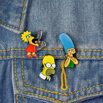 The Simpsons Collection ! Lisa Homer Jay Marge Kirk TV show Cartoon character nternet meme brooch cute Enamel pins For Fans image