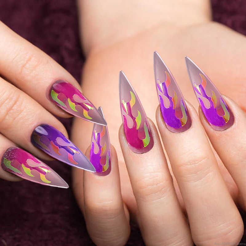 Multicolore holographique feu flamme bande bande ongles décoration pochoir creux autocollants feux manucure pochoir autocollants Nail Art