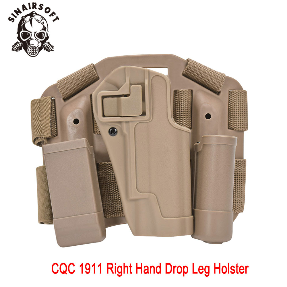 Hot Tactical CQC Dark Earth 1911 Right Hand Drop Leg Holster Pouch Fit Pistol M1911 For Paintball Shooting Hunting Accessories