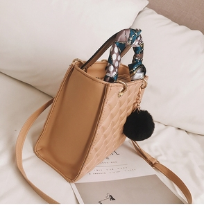 Image 5 - Ladies Handbag small Ribbon Hair ball Shoulder bags for women Tote bag PU Leather female Messenger bag Brand Designer bolsa red