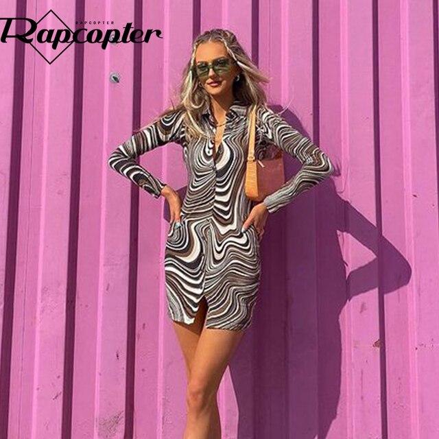 Rapcopter Paisley Brown Mini Dress y2k Aesthetic Sundress Turn Down Collar Vintage Short Dress Button Skinny Bodycon 2021 90S 5