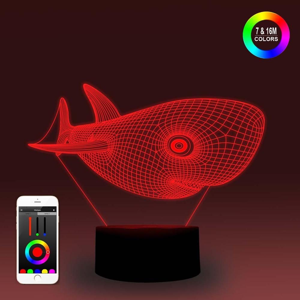 NiteApps 3D Cartoon Shark Night Light Desk Table Illusion Decoration Lamp Holiday Birthday Gift APP/Touch Control