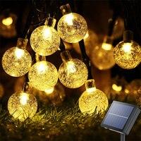 Luci a stringa solari per esterni 60 luci a globo in cristallo a Led con 8 modalità luce da Patio a energia solare impermeabile per decorazioni per feste in giardino