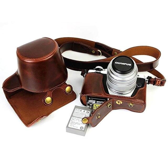 Custodia in pelle di lusso per Olympus EM10 II EM10 III E M10 Mark II Mark III 14 42mm apertura della batteria dellobiettivo con cinturino per fotocamera