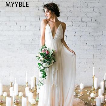 MYYBLE Simple Boho Wedding Dress Beach 2020 Robe de mariee Plunging Sexy Spaghetti Straps Bridal Dress Chiffon Wedding Dresses фото