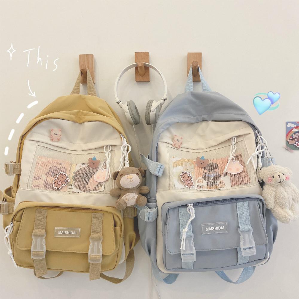 Cute Girls Backpack Women Large Capacity Ins Simple School Bags for Teens Female Korean Harajuku School Student Bookbag Ladies