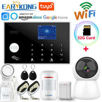 Système d'alarme Wifi GSM 433MHz alarme anti-vol à domicile détecteur sans fil et filaire clavier tactile RFID TFT 11 langues Compatible Alexa