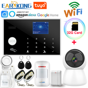 Wifi GSM Alarm System 433MHz Home Burglar Alarm Wireless & Wired Detector RFID TFT Touch Keyboard 11 Languages Compatible Alexa(China)