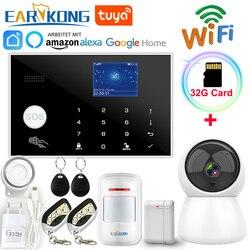 Wifi GSM Alarm System 433MHz Startseite Einbrecher Alarm Wireless & Wired Detektor RFID TFT Touch Tastatur 11 Sprachen Kompatibel alexa