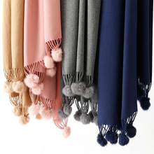 Autumn and winter new scarf female solid color rabbit fur ball cashmere warm monochrome tassel scarf thick warm shawl pashmina ethnic flower and geometry pattern tassel shawl pashmina
