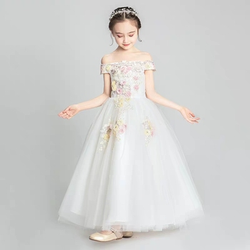 Children Girls Gorgeous Shoulderless Collar Embroidery Flowers White Birthday Evening Party Dress Kids elegant Host Piano Dress