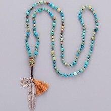Женское Ожерелье в стиле бохо, ожерелье из натурального камня, антикварное ожерелье с бусинами, роскошное женское элегантное ожерелье для йоги ручной работы