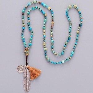 Image 1 - Women Boho Necklaces Natural Stone Antique Charm Beads Necklace Luxury Handmade Beaded Women Elegant Yoga Necklace