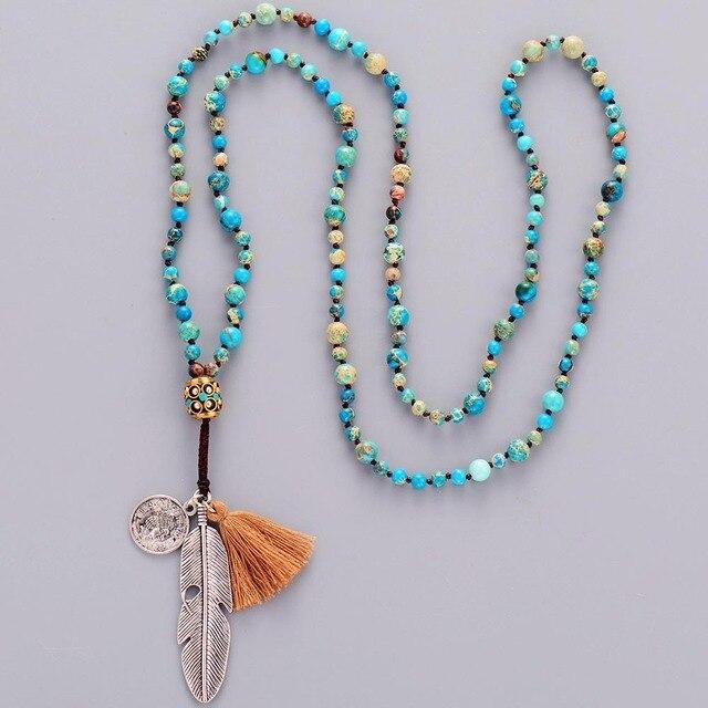 Women Boho Necklaces Natural Stone Antique Charm Beads Necklace Luxury Handmade Beaded Women Elegant Yoga Necklace