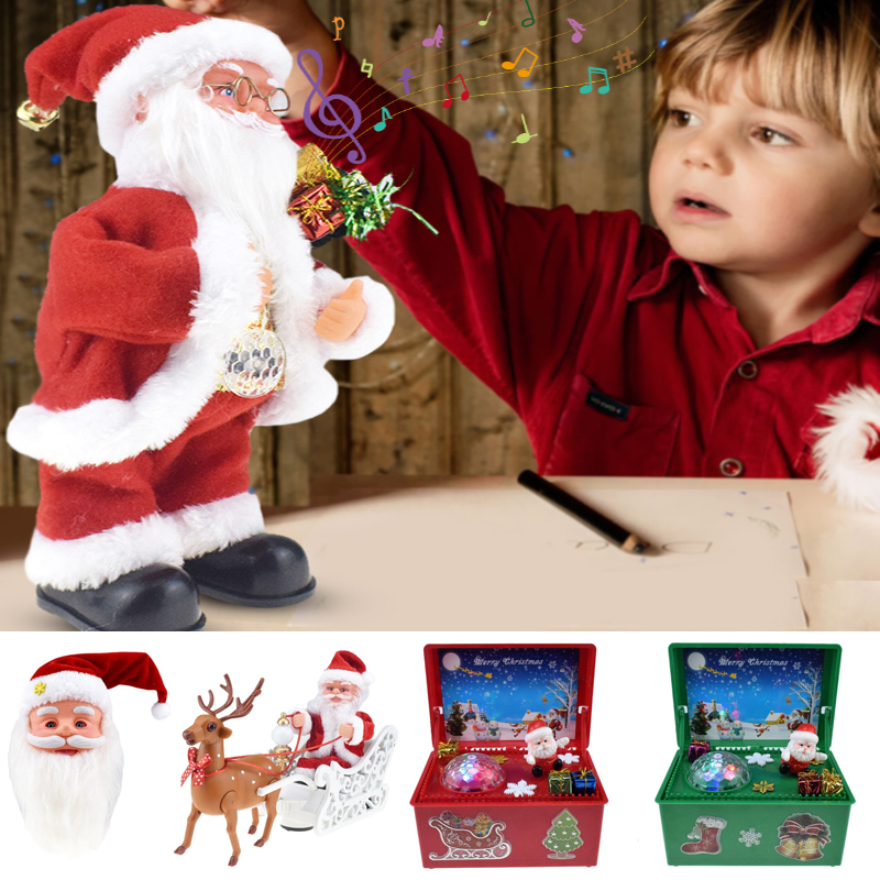 Christmas Electric Toy Plastic Novelty And Originality Music Box Santa Claus Elk Sled Doll Universal Car Music Gift Xmas Decor