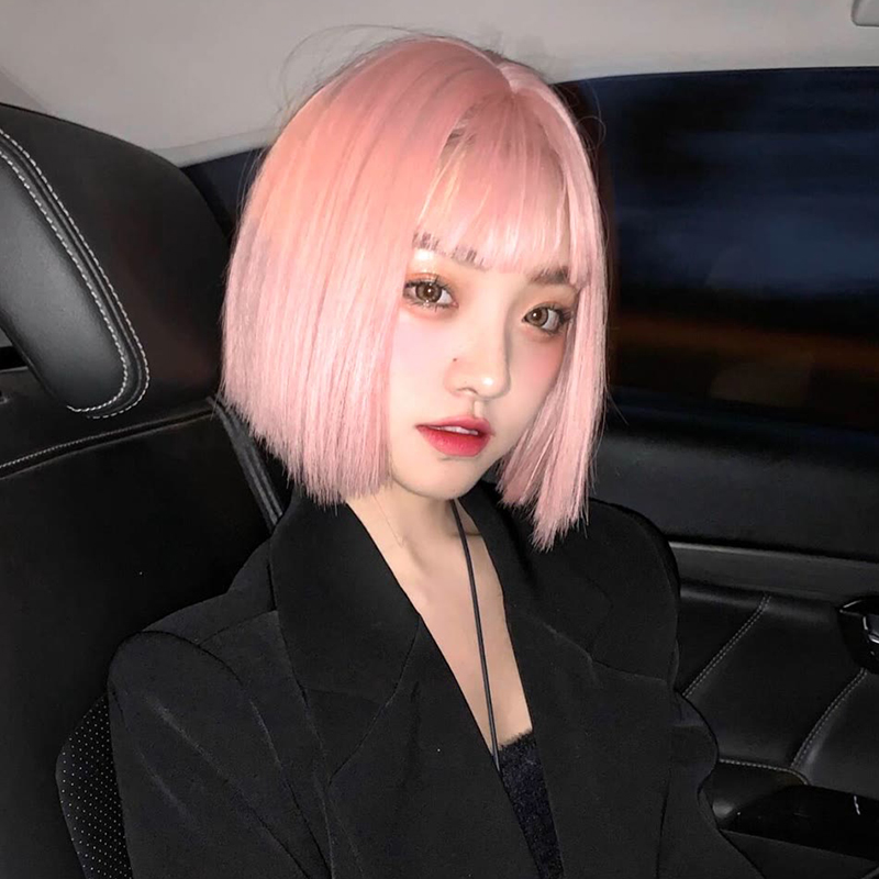 MANWEI Pink Short Wigs Bob Style Straight Synthetic Black Women's Wig with Bangs 14 Inches Soft Hair Blonde Wig