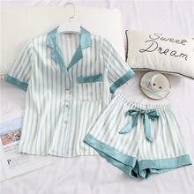 Creation 101 Womens Pajamas Silk Two Piece Set Sleepwear Satin Pijama Pyjama Short Sleeve Shirt + Shorts Homewear Night Suits